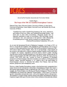 Call for papers for the Journal of the Canadian Association for Curriculum Studies